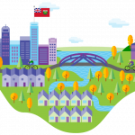 GreenON Heating & Cooling Rebates- Cartoon of a city, provincial flag, and homes on a landscape.