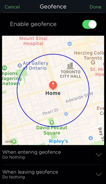 Geofencing smart thermostat