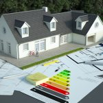 3D rendering of a house with blueprints, energy charts and other documents in a field | Upgrades to qualify for the Canada Greener Homes Grant